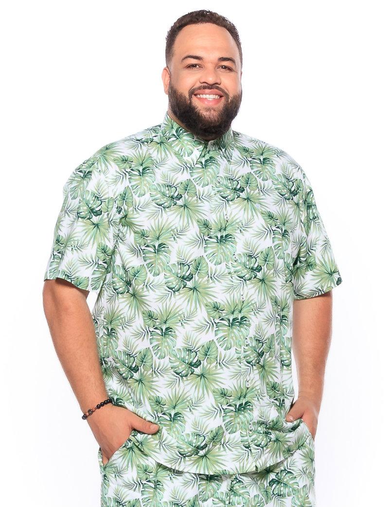 Camisa plus size Manga Curta Summer Folha Verde