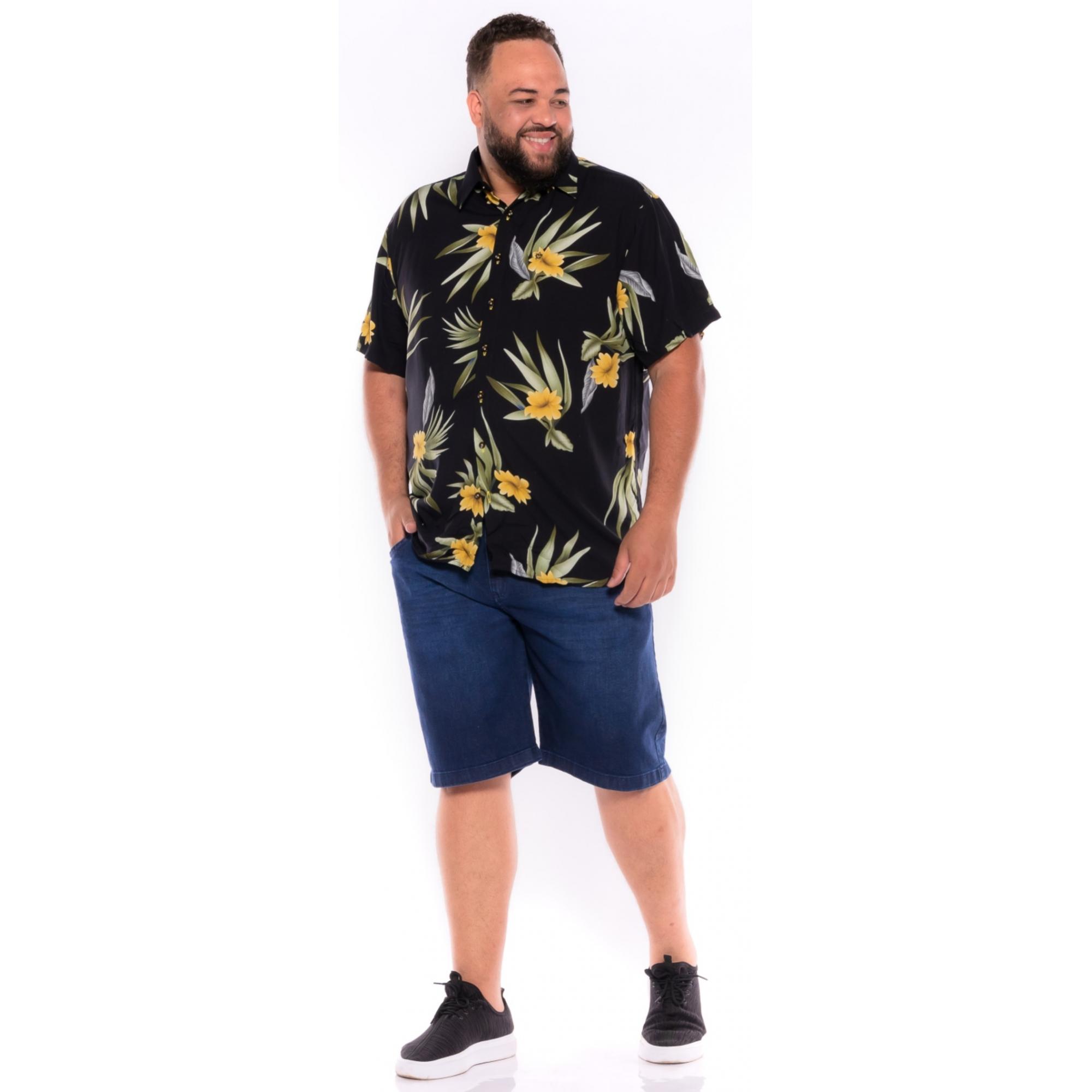 Camisa plus size Manga Curta Summer Lírio