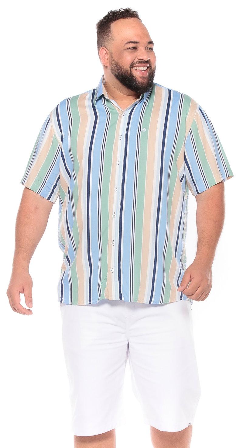 Camisa plus size Manga Curta Summer Listra Azul