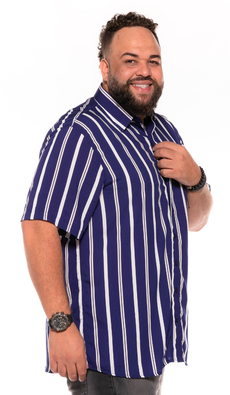 Camisa plus size Manga Curta Summer Listra Marinho