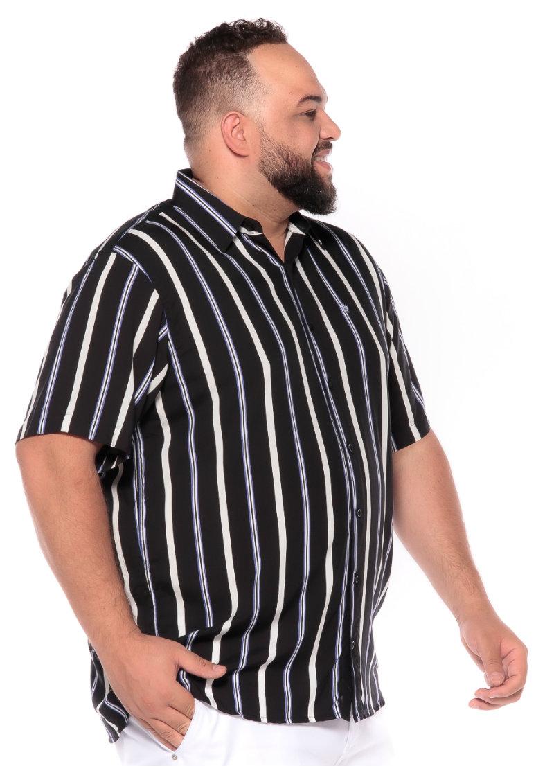 Camisa plus size Manga Curta Summer Listra Preta