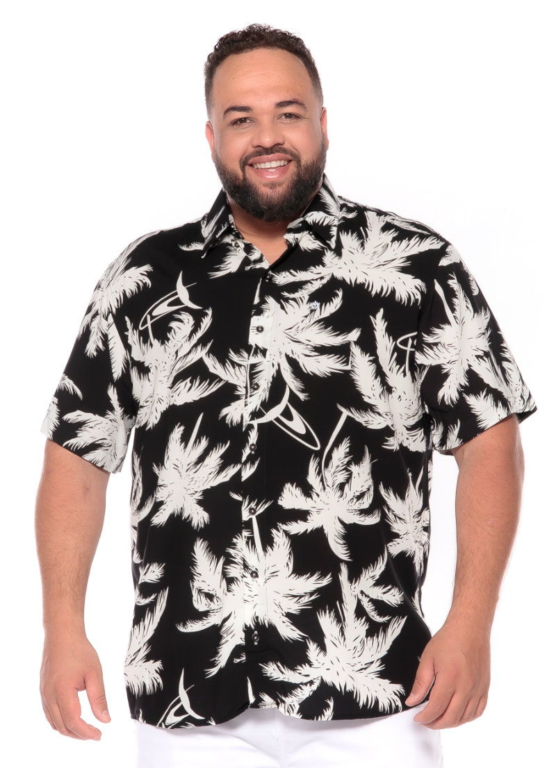 Camisa plus size Manga Curta Summer Palm