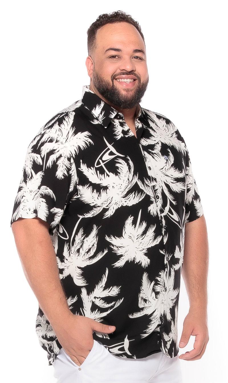 Camisa plus size Manga Curta Summer Palm