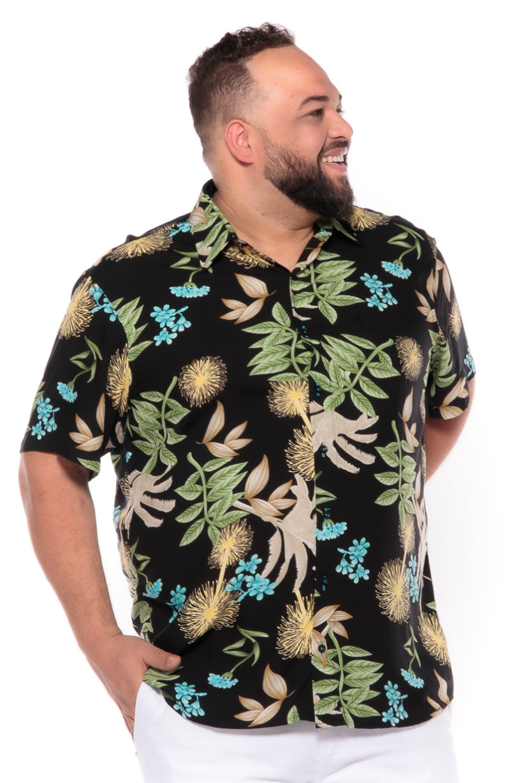 Camisa plus size Manga Curta Summer Paradise
