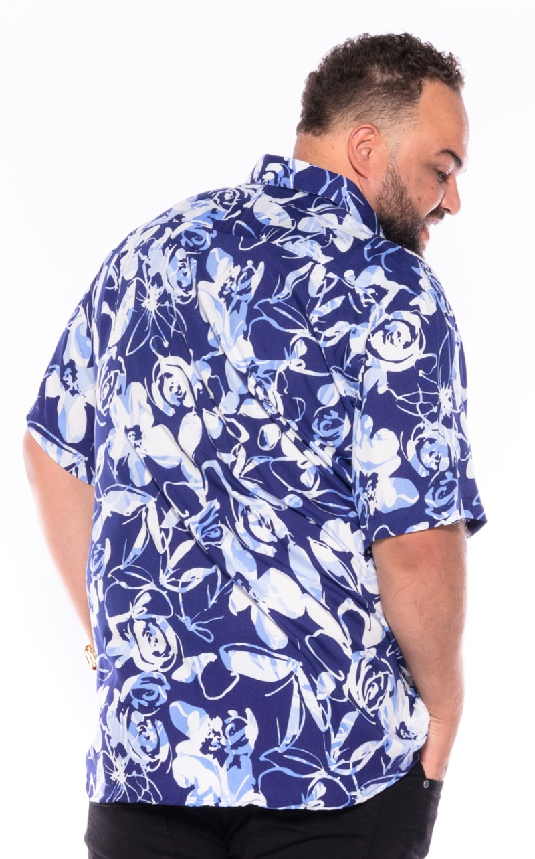 Camisa plus size Manga Curta Summer Trop Azul