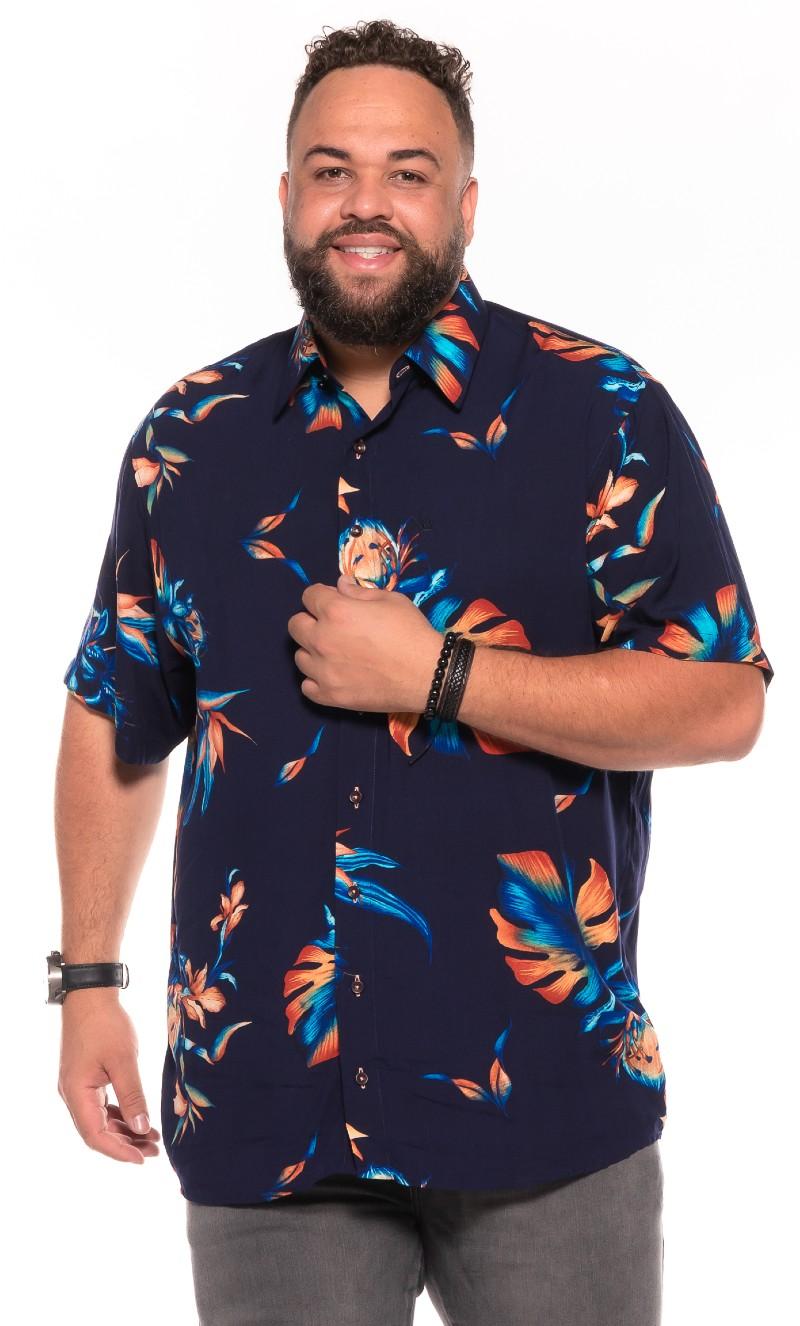 Camisa plus size Manga Curta Summer Trop Blue