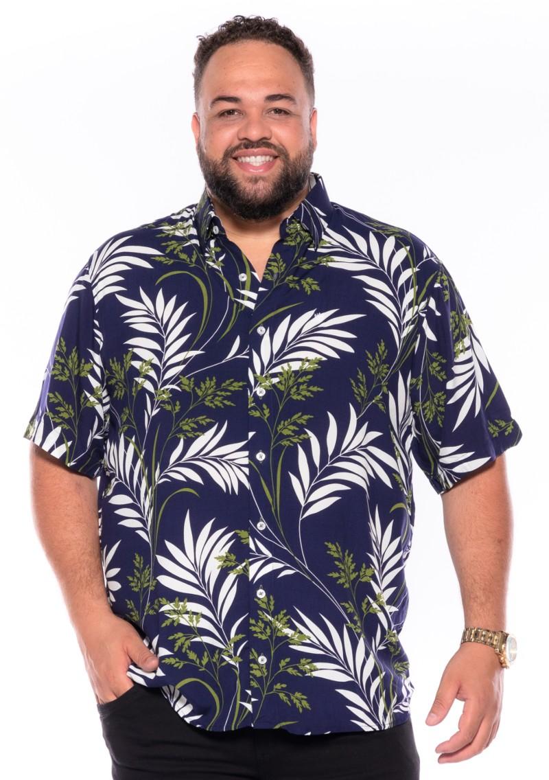 Camisa plus size Manga Curta Summer Trop Marinho