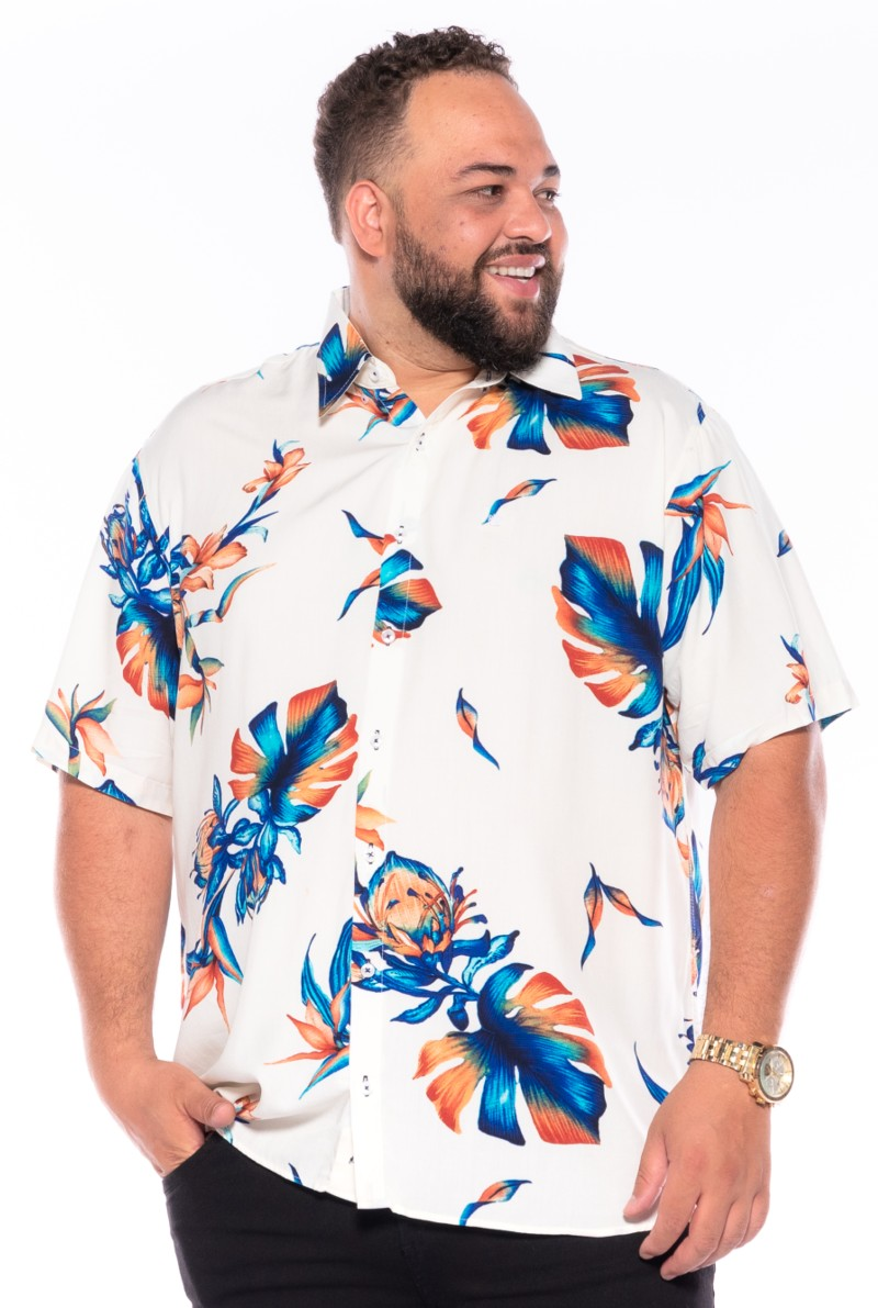 Camisa plus size Manga Curta Summer Trop White