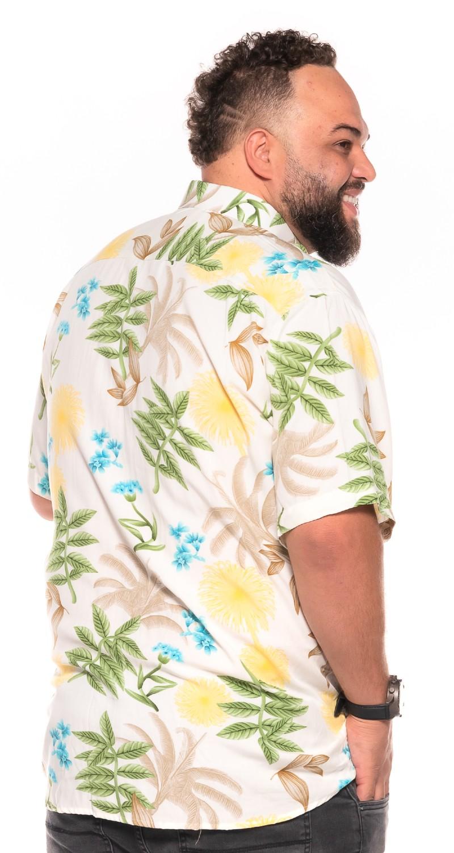 Camisa plus size Manga Curta Summer Trop Yellow