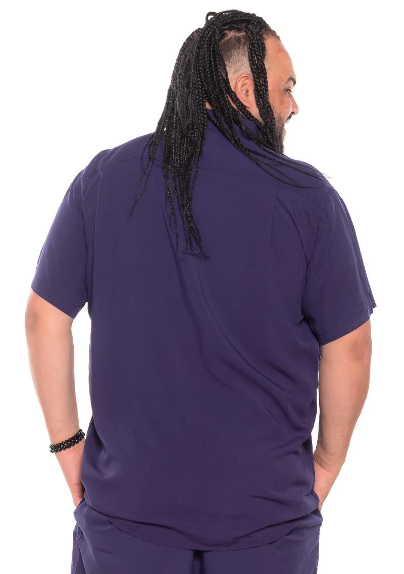 Camisa plus size Manga Curta Summer Viscose Marinho