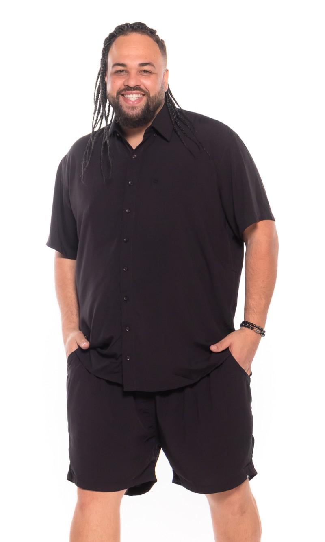 Camisa plus size Manga Curta Summer Viscose Preta