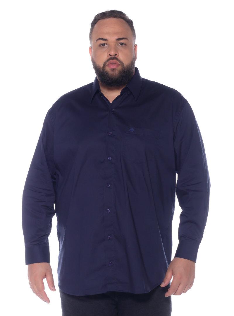 Camisa plus size Manga Longa Elastano Azul Marinho