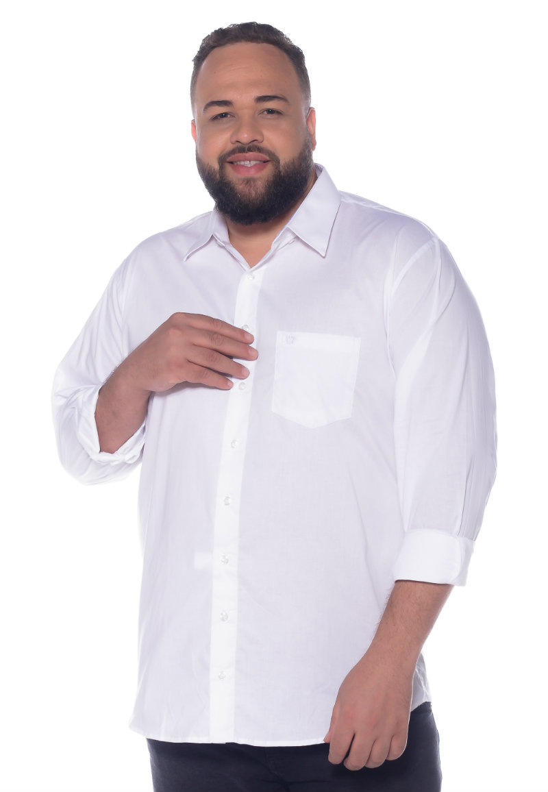 Camisa plus size Manga Longa Elastano Branca