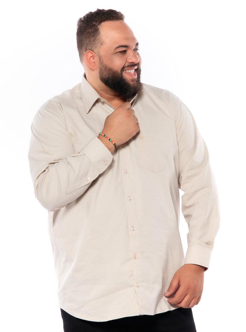 Camisa plus size Manga Longa Elastano Palha