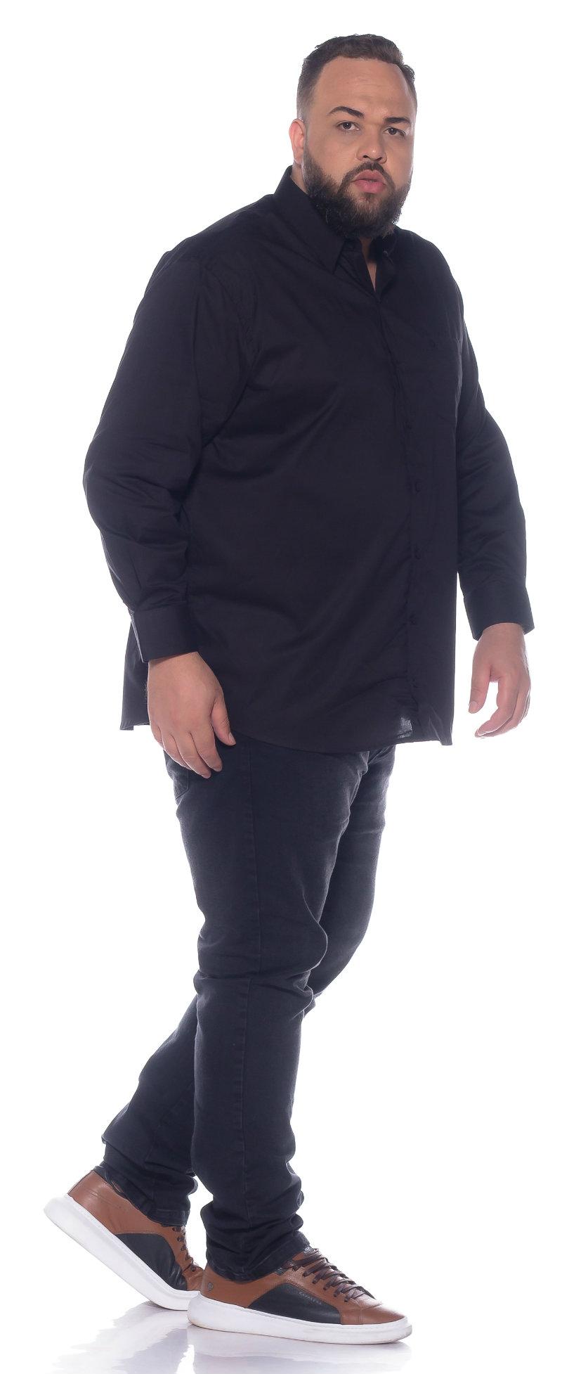 Camisa plus size Manga Longa Elastano Preta