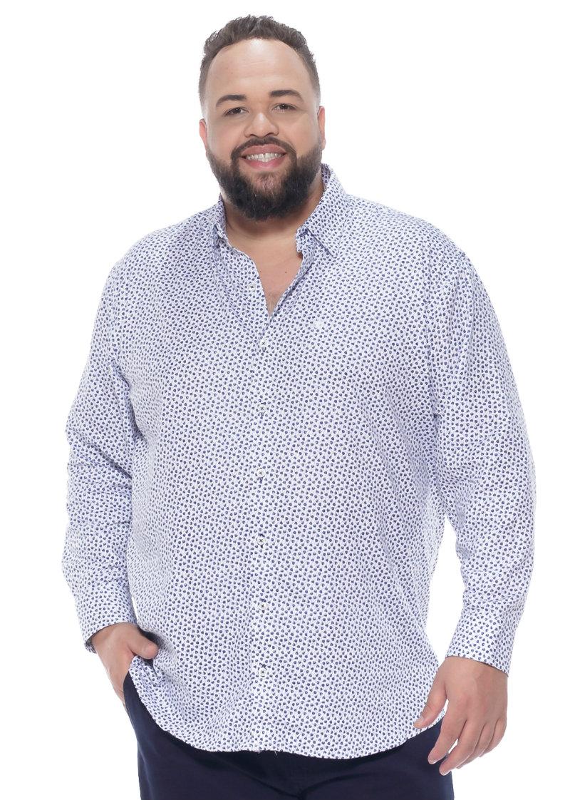 Camisa plus size Manga Longa Estampa Flow Branca
