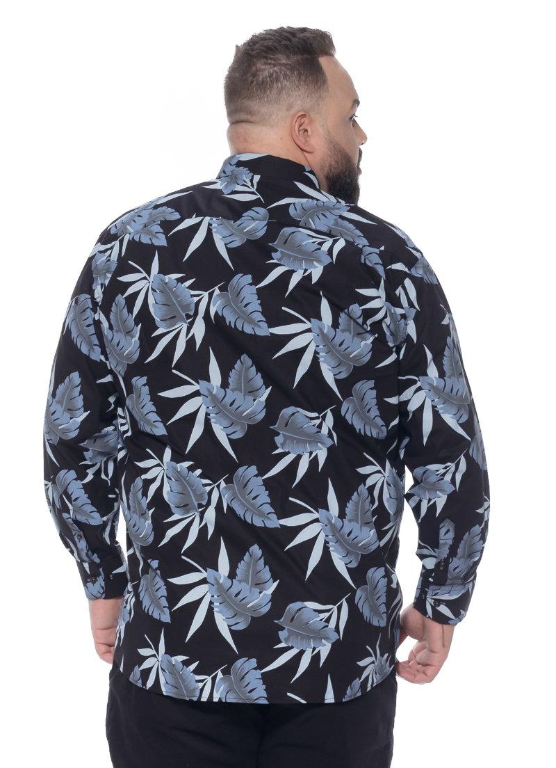 Camisa plus size Manga Longa Estampa Flower