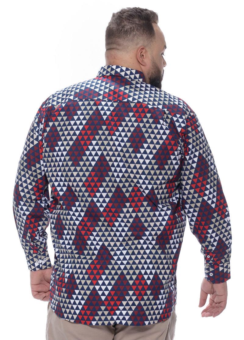 Camisa plus size Manga Longa Estampa Losango