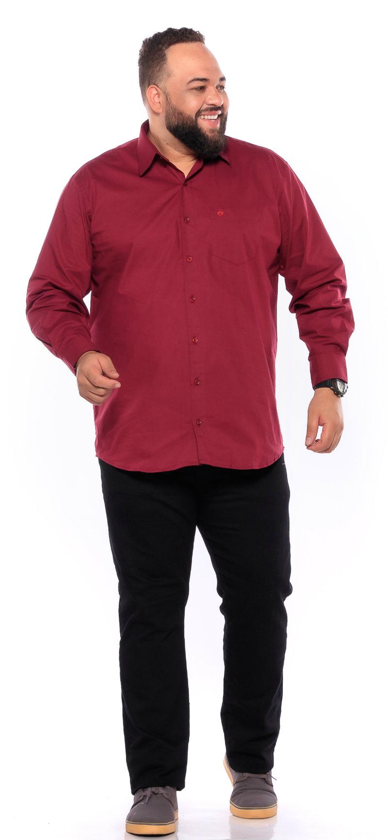 Camisa plus size Manga Longa Elastano Vinho