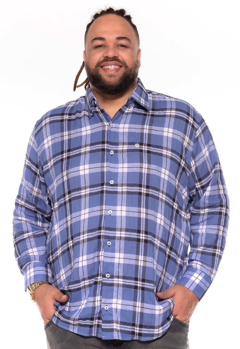 Camisa plus size Xadrez Manga Longa J