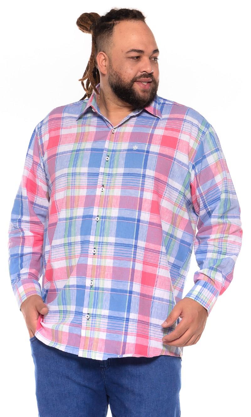 Camisa plus size Xadrez Manga Longa K