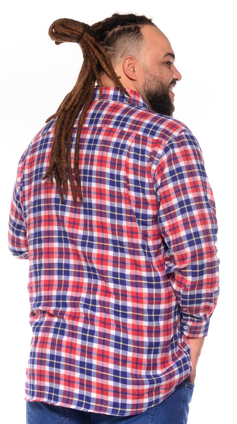 Camisa plus size Xadrez Manga Longa W