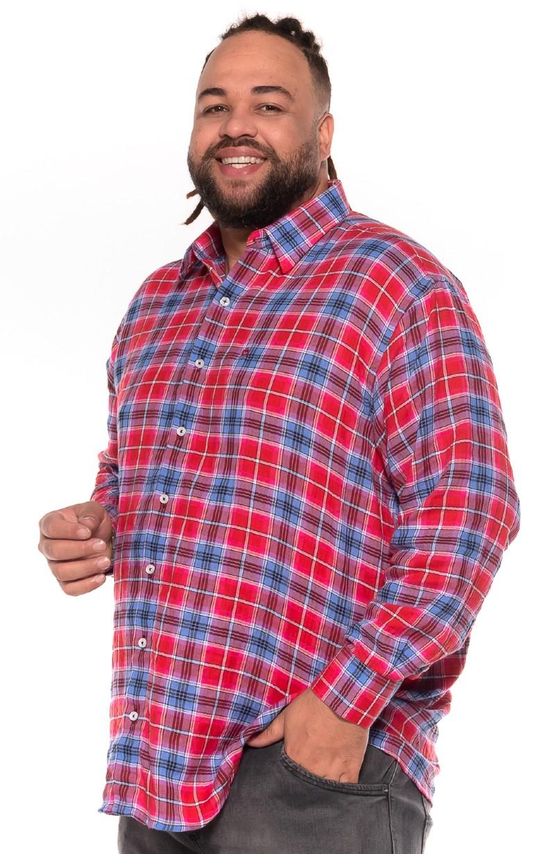 Camisa plus size Xadrez Manga Longa Y