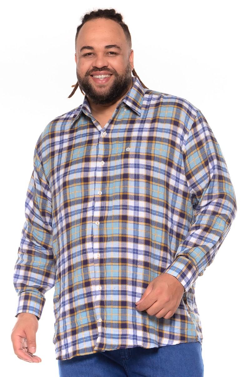 Camisa plus size Xadrez Manga Longa Z
