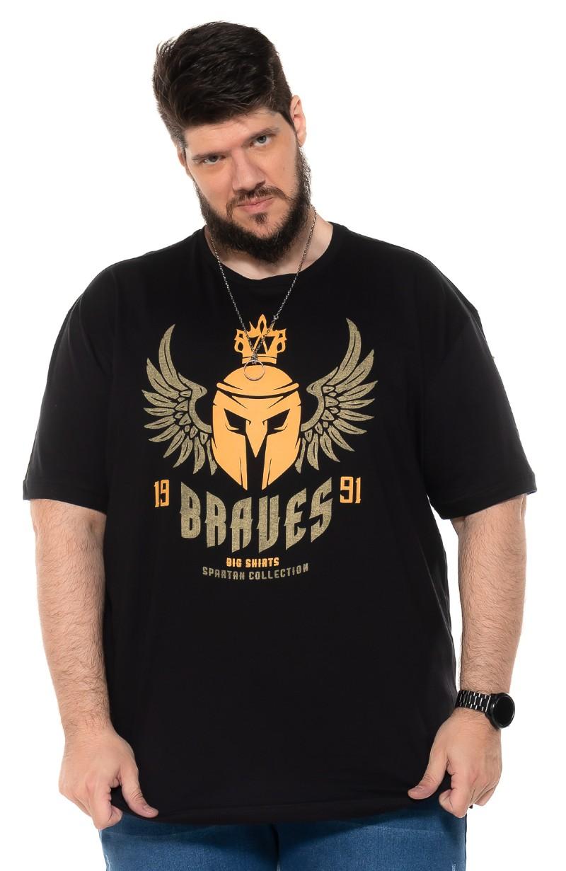 Camiseta plus size Braves Preta
