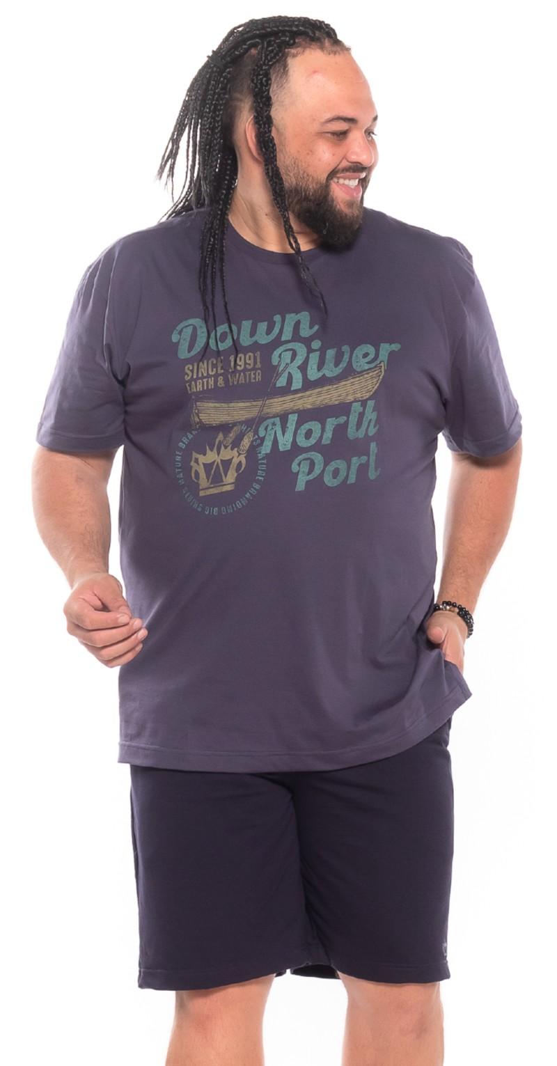 Camiseta plus size Down River Grafite