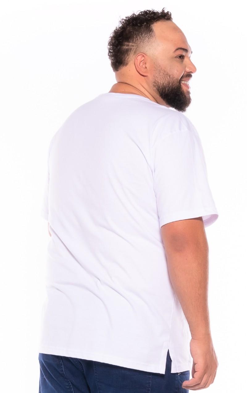 Camiseta plus size estampa America Branca