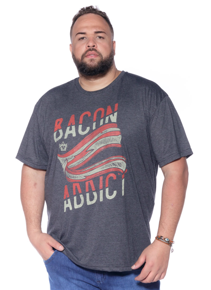 Camiseta plus size estampa Bacon Mescla Escuro
