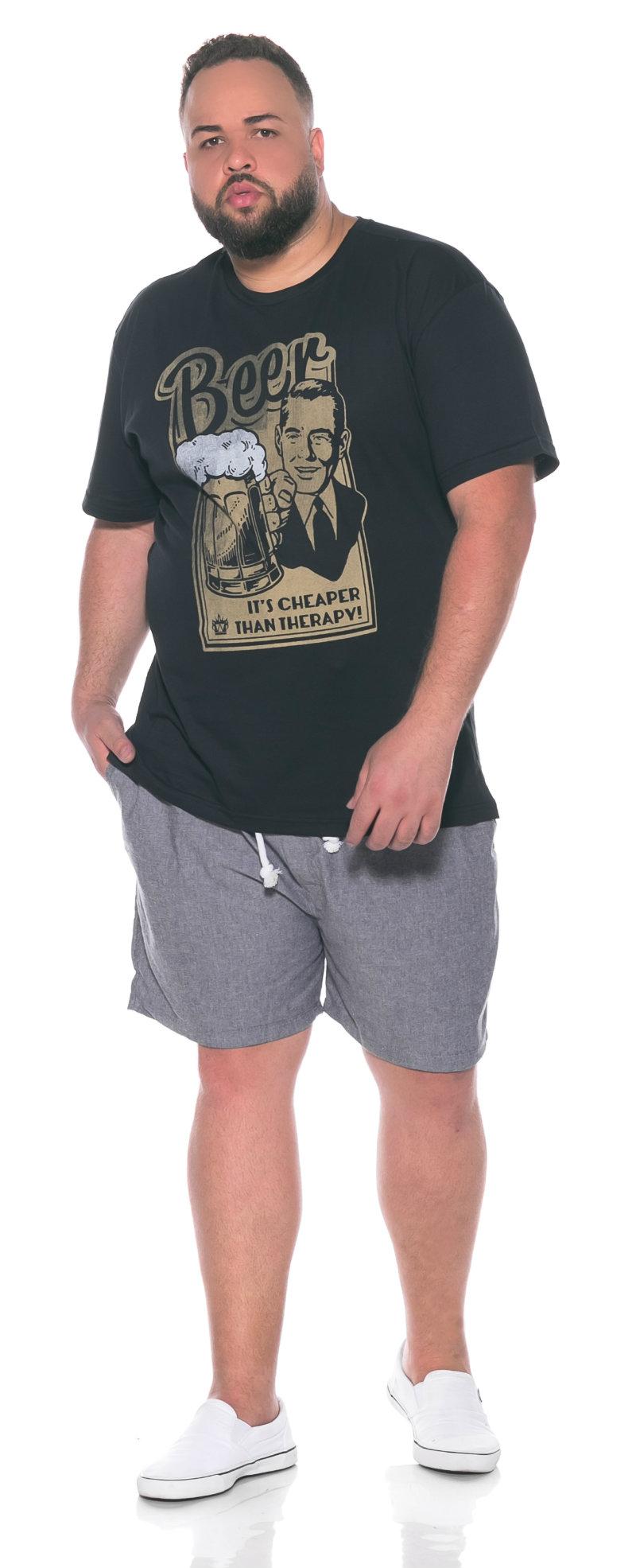 Camiseta plus size Beer Preta