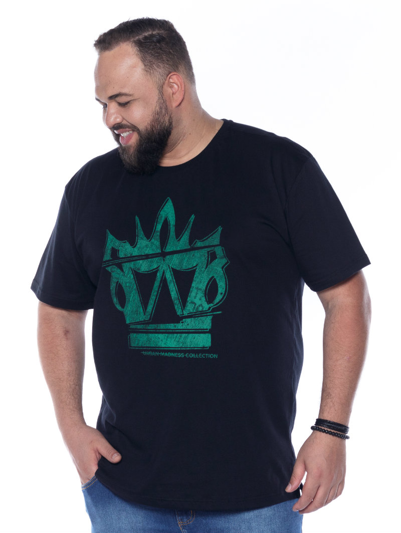 Camiseta plus size estampa Big 3D Preta