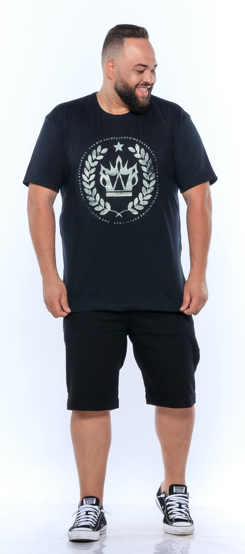 Camiseta plus size estampa Big Coroa Preta