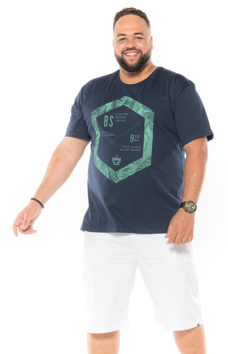 Camiseta plus size estampa BS Azul Marinho