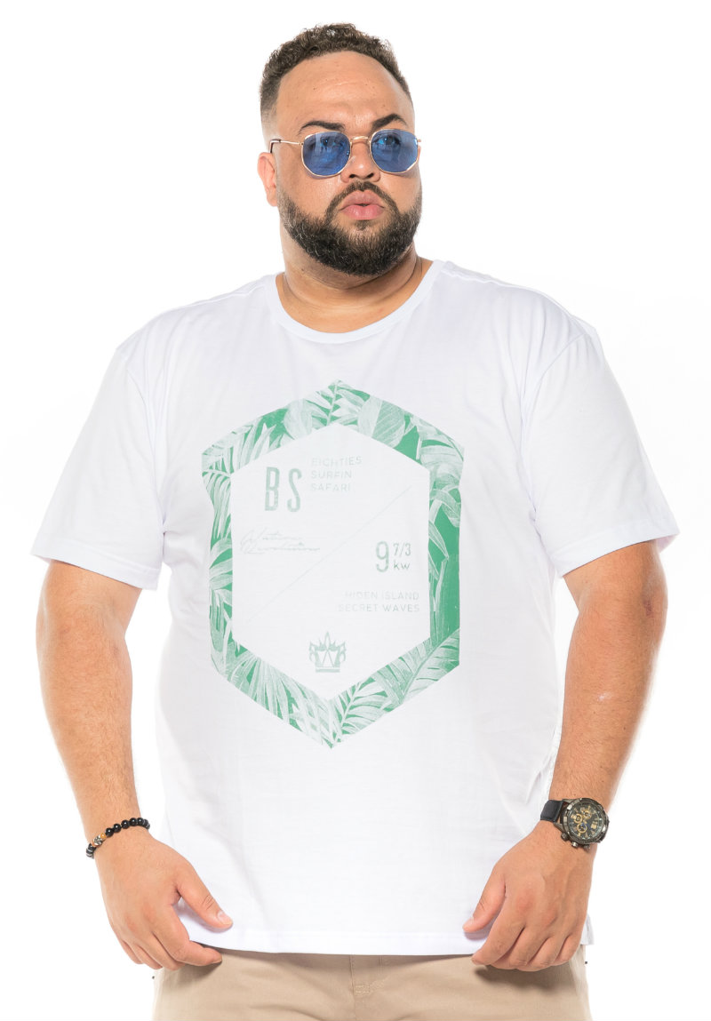 Camiseta plus size estampa BS Branca