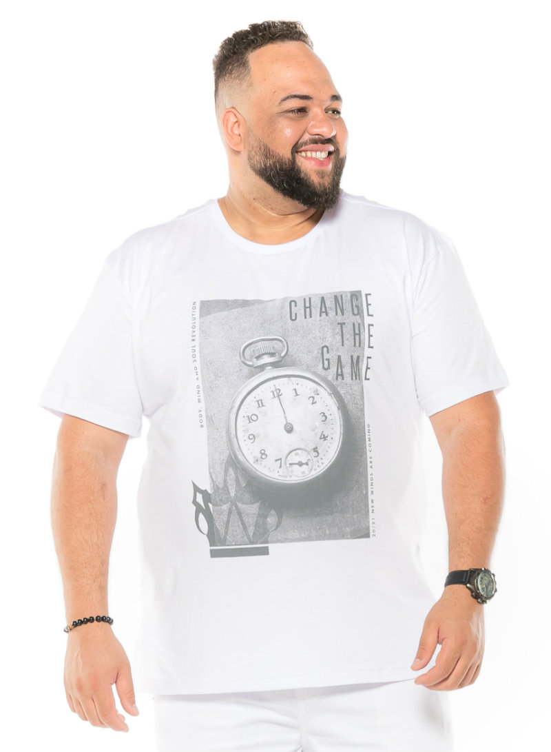 Camiseta plus size estampa Change Branca