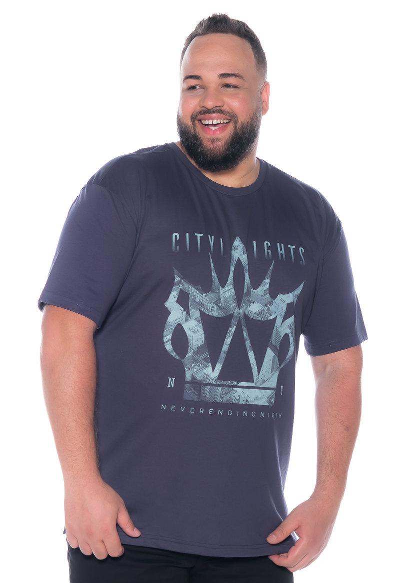 Camiseta plus size estampa City Grafite
