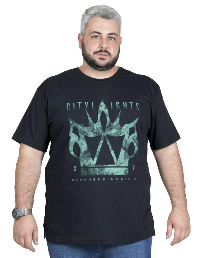 Camiseta plus size estampa City Preta