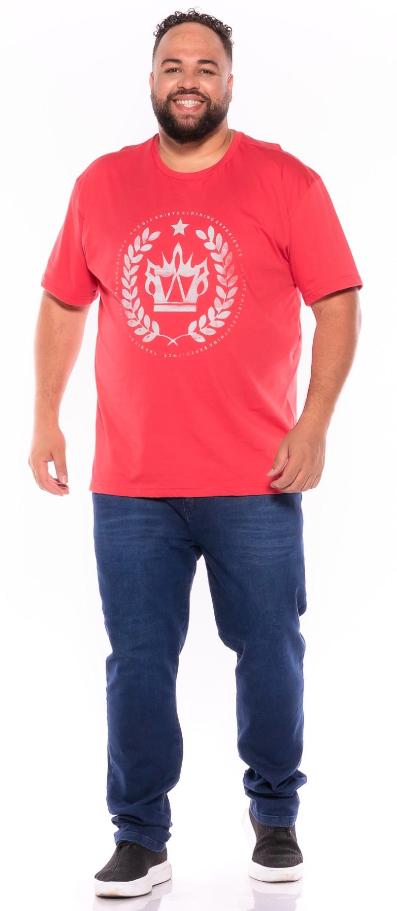 Camiseta plus size estampa Big Coroa Rosa