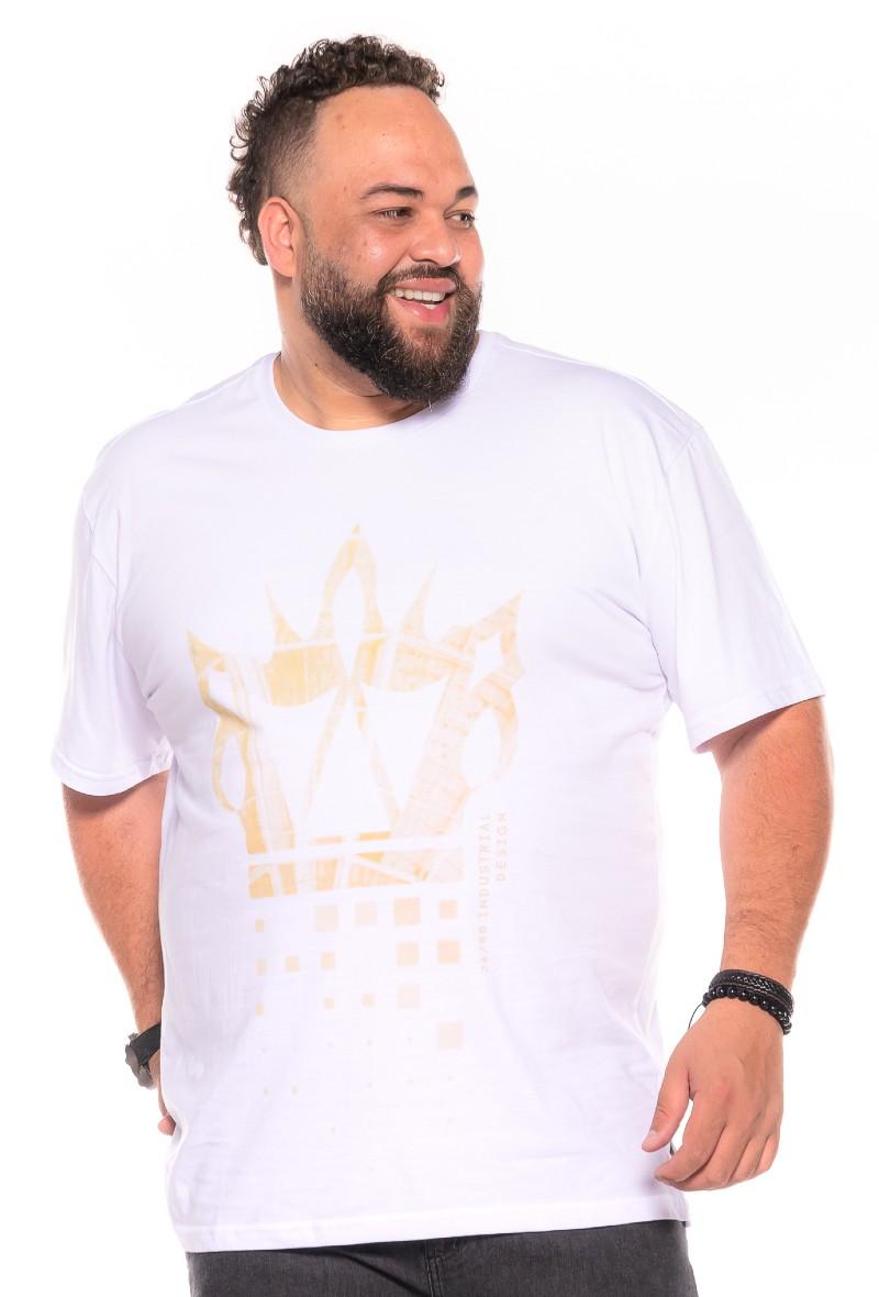 Camiseta plus size estampa Design Branca
