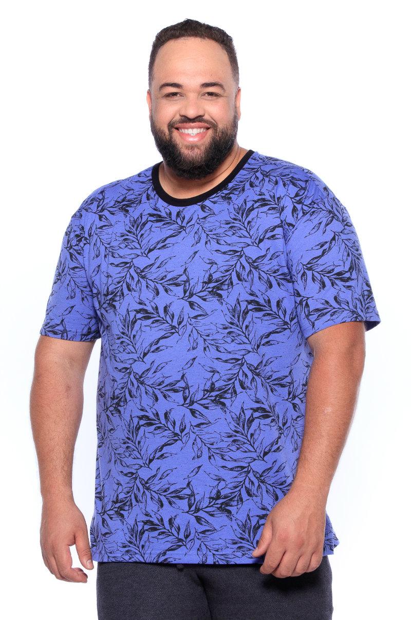 Camiseta plus size estampa Folha Lilás