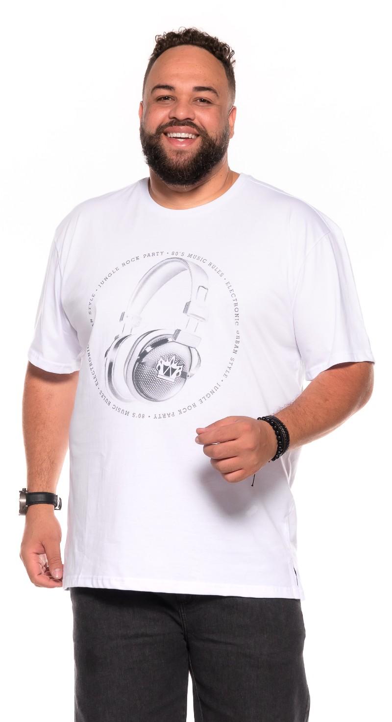 Camiseta plus size estampa Fone Branca