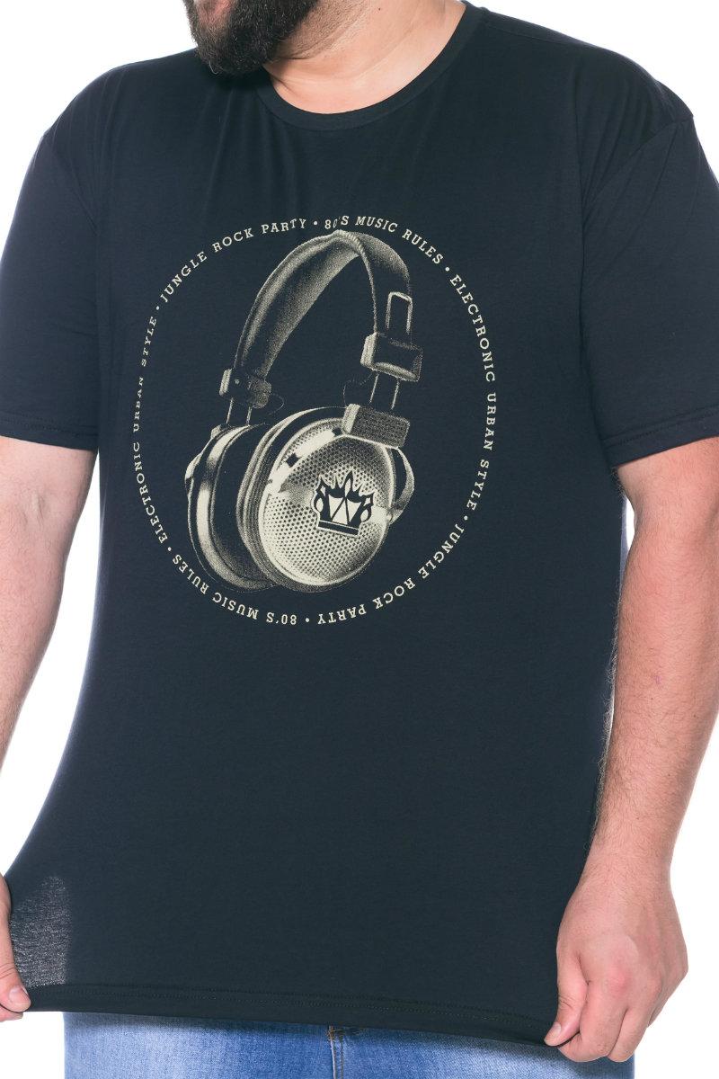 Camiseta plus size estampa Fone Preta