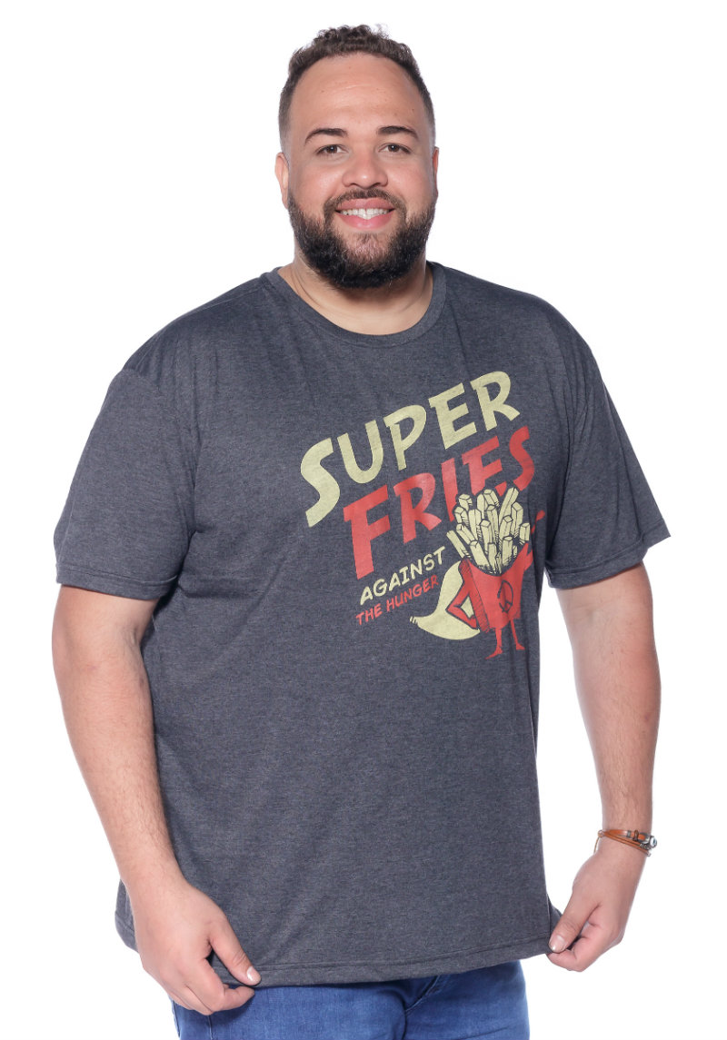 Camiseta plus size estampa Fries Mescla Escuro
