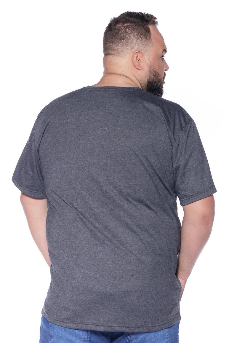 Camiseta plus size estampa Fries Mescla Escuro