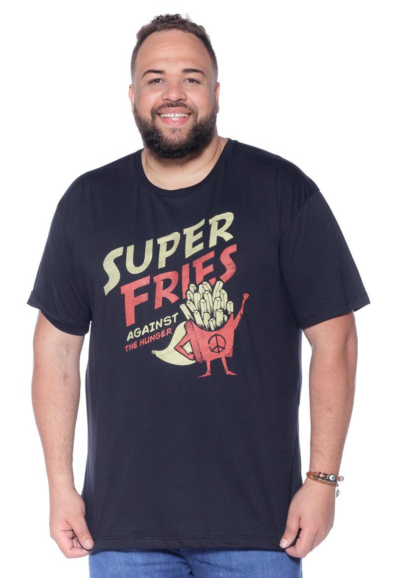 Camiseta plus size estampa Fries Preta