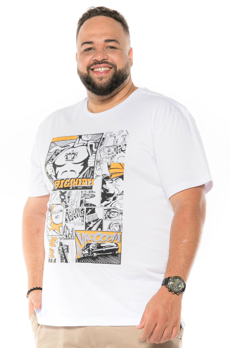 Camiseta plus size estampa Gibi Branca