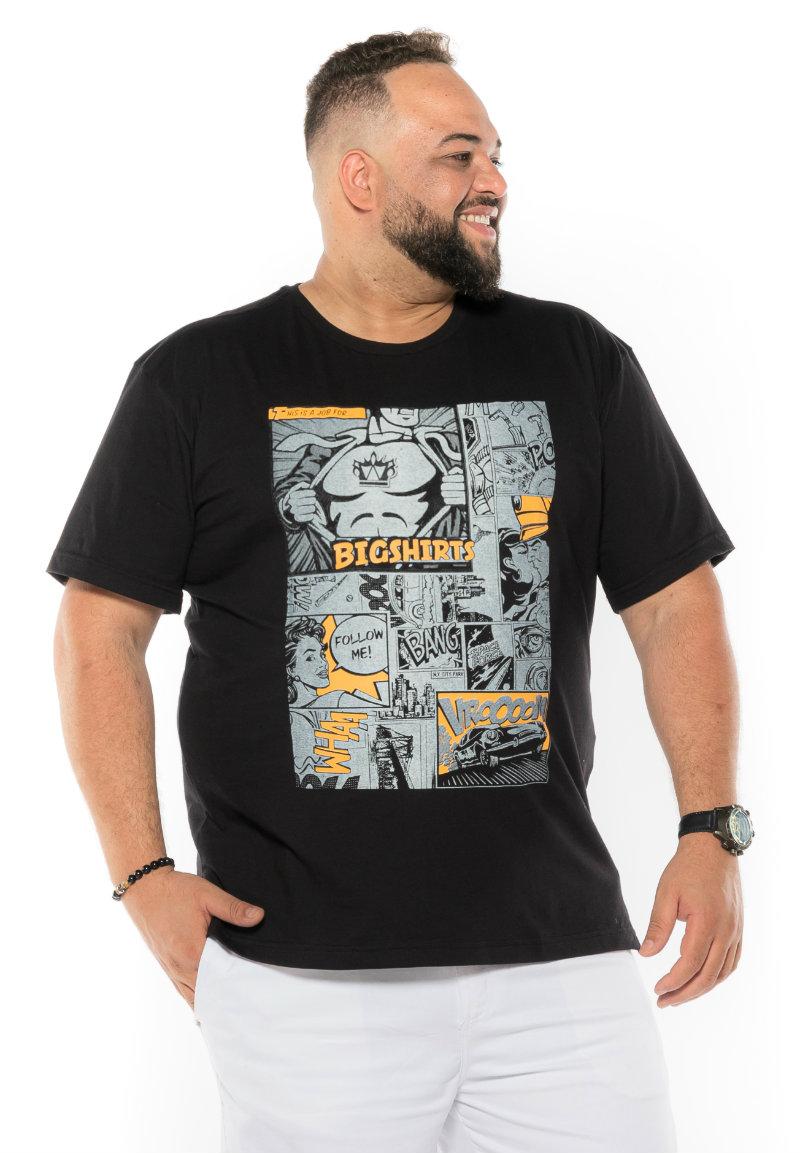 Camiseta plus size estampa Gibi Preta